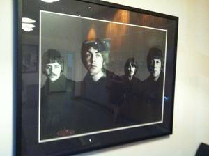 Visitors to Capitol Records in Hollywood are met by a 1967 portrait of The Beatles in the company's entryway.