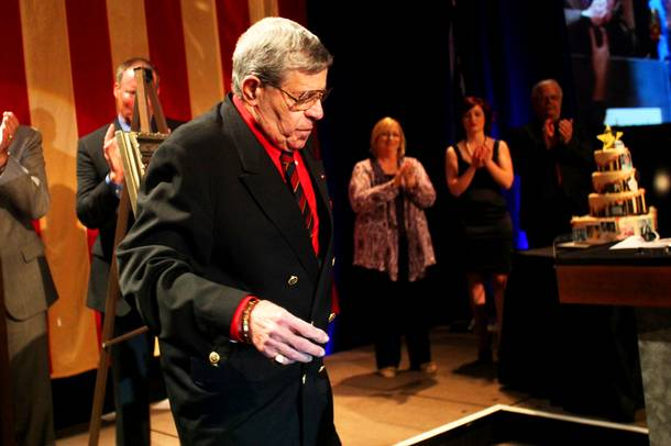 Jerry Lewis accepts the Nevada Broadcasters Association Lifetime Achievement Award at Red Rock Resort on Saturday, Aug. 20, 2011.