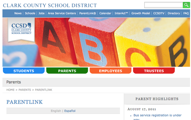 ParentLink page on the Clark County website.