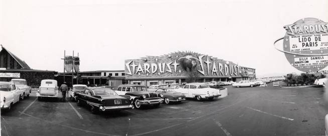 Cars park outside the Stardust in 1958. At the time of the casino's opening, it was the largest hotel and casino and also had the largest pool in town.