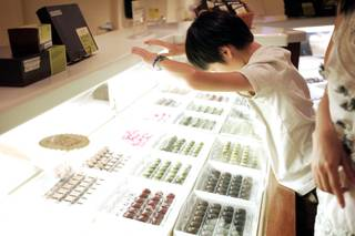 Jeremy Law, 11, of Los Angeles gets a good look at chocolates for sale at Ethel M Chocolate Factory in Henderson Thursday, August 25, 2011.
