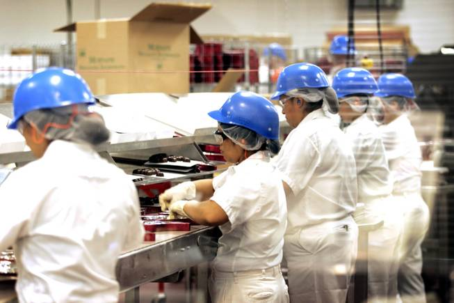 Chocolates being made at Ethel M Chocolate Factory in Henderson Thursday, August 25, 2011.