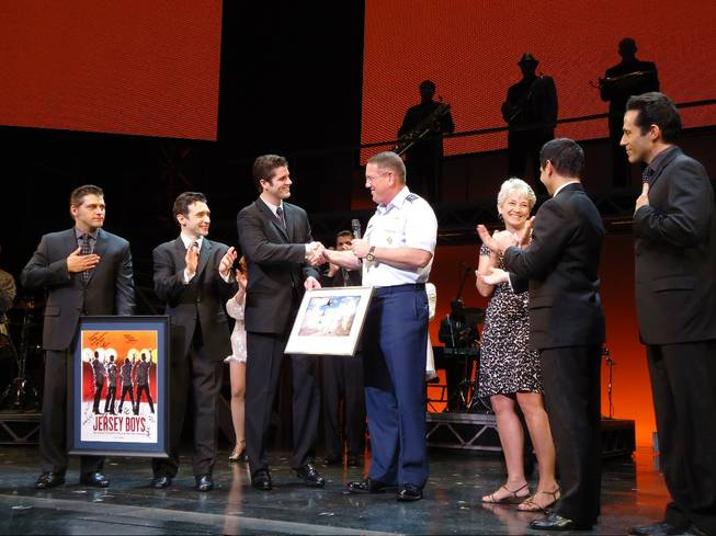 Deven May, Rick Faugno, Peter Saide, Major Gen. Bill Hyatt, Becky Hyatt, Travis Cloer and Jeff Leibow at <em>Jersey Boys</em> at the Palazzo.