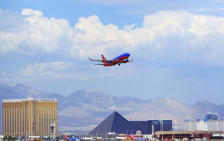 A Southwest Airlines jet takes off from McCarran International Airport on Friday, Aug. 26, 2011.