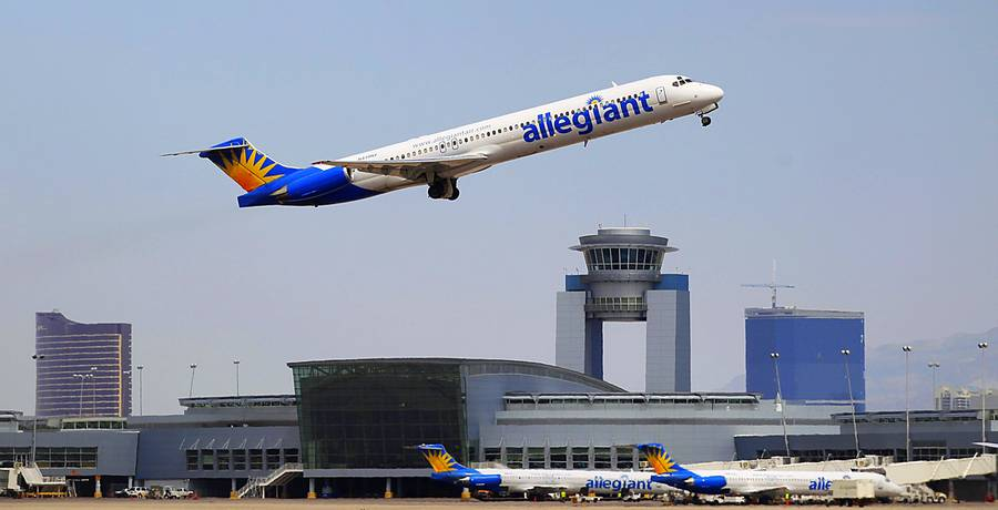 An Allegiant Airlines jet takes off from McCarran International Airport on Friday, Aug. 26, 2011.
