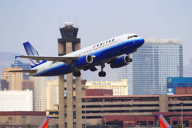 A United Airlines jet takes off from McCarran International Airport on Friday, Aug. 26, 2011.