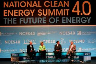 ENN Group chairman Yusuo Wang, speaks during the National Clean Energy Summit Tuesday, August 30, 2011 at the Aria Convention Center.
