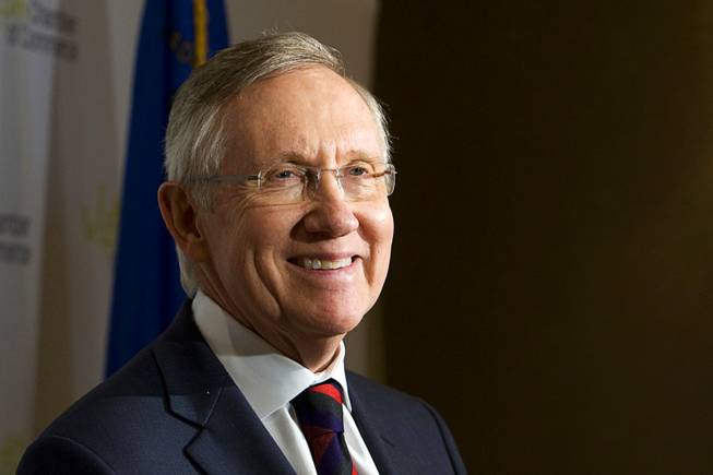 Senate Majority Leader Harry Reid (D-NV) smiles during a news conference following a Las Vegas Chamber of Commerce luncheon at the Four Seasons Hotel in Las Vegas Wednesday, August 31, 2011.