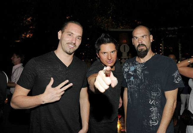 """Ghost Adventures"" stars Nick Groff, Zak Bagans and Aaron Goodwin attend Blush's fourth anniversary hosted by Holly Madison at the Wynn on Sunday, Sept. 4, 2011."