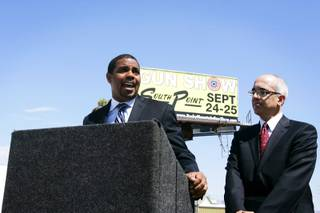 Nevada Senate Majority Leader Steven Horsford and State Senator Mo Denis speak during a press conference just before Republican presidential candidate Mitt Romney's appearance across the street at McCandless International Trucks in North Las Vegas Tuesday, September 6, 2011.