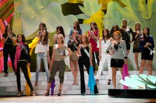 Miss USA Alyssa Campanella rehearses with other contestants at the 2011 Miss Universe Pageant in Sao Paolo, Brazil, on Sept. 9, 2011.