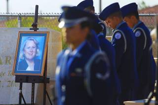 A portrait of Barbara Edwards is displayed during a remembrance ceremony for the Palo Verde teacher Friday, Sept. 9, 2011. Edwards was a passenger on Flight 77 that crashed into the Pentagon on Sept. 11, 2001.