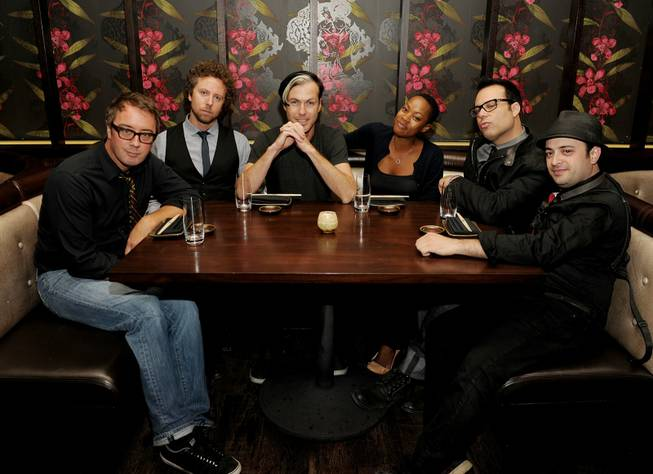 John Wicks, Joseph Karnes, Michael Fitzpatrick, Noelle Scaggs, Jeremy Ruzumna and James King of Fitz & The Tantrums dine at Social House during Fashion's Night Out at Crystals in CityCenter on Friday, Sept. 8, 2011.