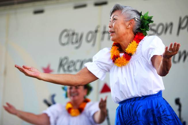 Members of the Na Hula Hali'a dance group perform during the 21st Ho'olaule'a Pacific Islands Festival in downtown Henderson Saturday, Sept. 10, 2011.
