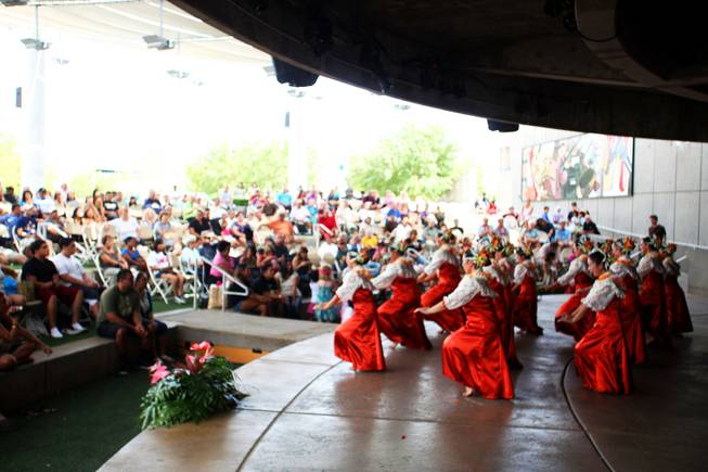 Members of the Halau Hula 'O Napunaheleonapua  perform during the 21st Ho'olaule'a Pacific Islands Festival in downtown Henderson Saturday, Sept. 10, 2011.