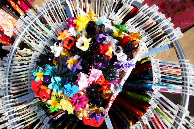 Hawaiian hair accessories are for sale during the 21st Ho'olaule'a Pacific Islands Festival in downtown Henderson Saturday, Sept. 10, 2011.