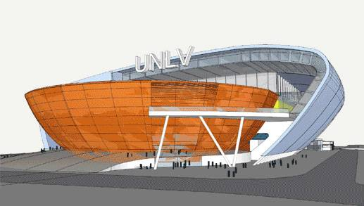Renderings of a proposed stadium on the UNLV campus.