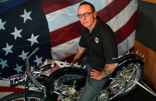 Shaun Ruddy of Phat Choppers poses at the Arlen Ness Motorcycles shop Tuesday, September 13, 2011. Ruddy will be competing in the Artistry in Iron competition at Las Vegas BikeFest Sept. 29 through Oct. 2.