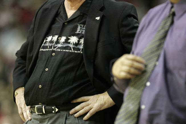 Hawaii head basketball coach Riley Wallace sports palm trees on his shirt during a game against UNLV at the Thomas and Mack Center on November 10, 2006.