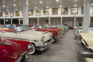 Some of the many cars in the collection of car enthusiast Jim Rogers Tuesday, September 20, 2011