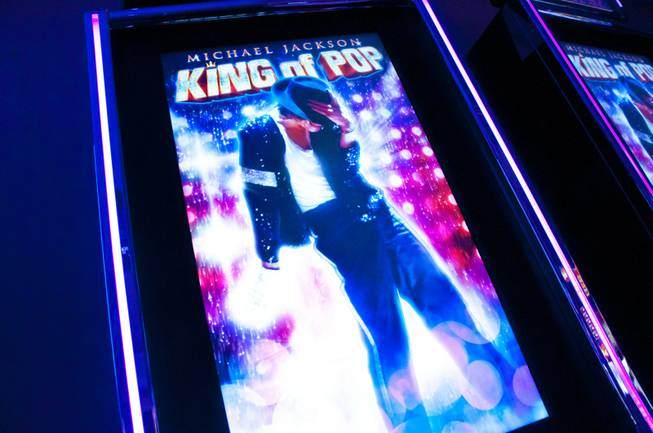 A new digital slot machine by Bally Technologies themed around the musical world of Michael Jackson is shown Friday, Sept. 23, 2011. The fully interactive  machine is supplied with high-definition music and custom video clips.