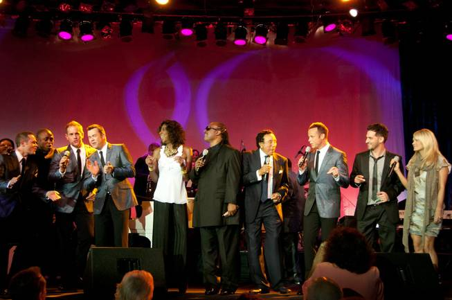 Michael Tierney, Wayne Brady, Toby Allen, Phil Burton, Natalie Cole, Stevie Wonder, Smokey Robinson, Andrew Tierney, Jon B. and Carrie Underwood at the Ella Award presentation to Robinson at the Beverly Hilton Hotel in Los Angeles.
