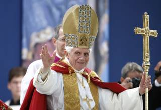 Benedict XVI blesses the faithful as he celebrates a Marian vesper ceremony in Etzelsbach, eastern Germany, Friday, Sept. 23, 2011. Pope Benedict XVI was on a four-day official visit to his homeland Germany.