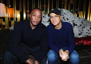 Dr. Dre and Jimmy Iovine at Gold Lounge in Aria on Sept. 23, 2011.