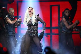 Lady Gaga performs during the second night of the iHeartRadio Music Festival at MGM Grand Garden Arena on Saturday, Sept. 24, 2011. The festival marks the official launch of iHeartRadio, Clear Channel's free digital radio product combining more than 800 broadcast radio and digital-only stations from 150 cities.