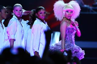 Nicki Minaj performs during the second night of the iHeartRadio Music Festival at MGM Grand Garden Arena on Saturday, Sept. 24, 2011. The festival marks the official launch of iHeartRadio, Clear Channel's free digital radio product combining more than 800 broadcast radio and digital-only stations from 150 cities.