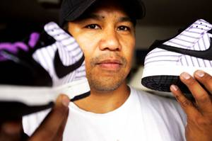 James Shintaku with Nike Avengers for sale at his home in Henderson on Saturday, Sept. 24, 2011.
