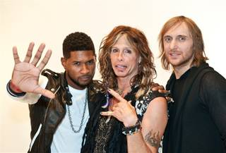 Behind the scenes at the 2011 iHeartRadio Music Festival at MGM Grand Garden Arena with Usher, Steven Tyler and David Guetta on Sept. 24, 2011.