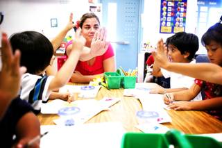 Teacher Paula Barry works with her kindergarten class at Elizondo Elementary School in North Las Vegas on Thursday, Sept. 29, 2011.