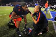 Bishop Gorman coach Tony Sanchez has words with tackle Ronnie Stanley after defeating Servite 31-28 Friday, Sept. 30, 2011.