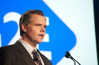 Jim Murren, Chairman and CEO of MGM Resorts International, speaks at this year's G2E at The Venetian Wed Oct. 4, 2011.