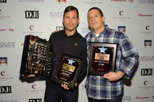 2011 America's Best DJ winner Kaskade and 2009 recipient DJ Z-Trip at Marquee in the Cosmopolitan on Oct. 9, 2011.