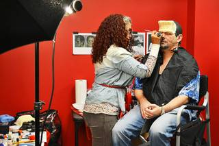 Stylist Zee Clemente works on transforming Strip headliner Terry Fator into Frankenstein before a photo shoot at the Greenspun Media Group photo studio in Henderson on Oct. 11, 2011.