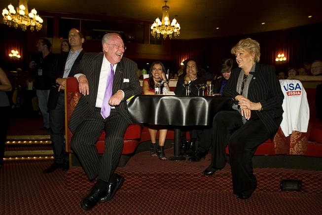 "Former Las Vegas Mayor Oscar Goodman and his wife and current Mayor Carolyn Goodman listen to screenwriter Dustin Abraham during a ""CSI"" viewing party at the Plaza Showroom on Wednesday, Oct. 12, 2011. Goodman plays himself in the episode. In the story, Goodman is shot during the opening of The Mob Museum."