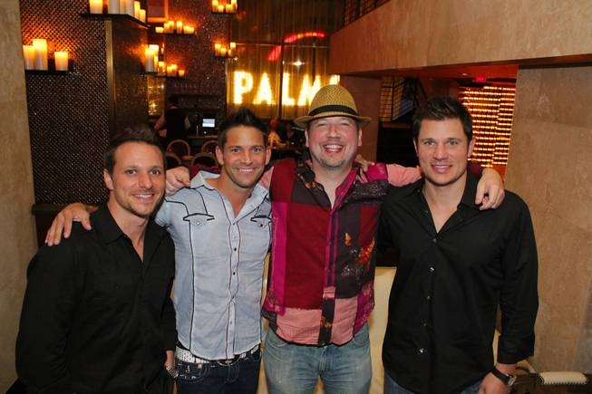 Drew Lachey, Jeff Timmons, Justin Jeffre and Nick Lachey of 98 Degrees at Nove Italiano in the Palms.