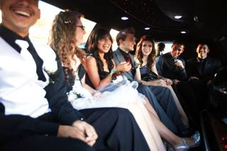 Chaparral High School students take a limousine from Chaparral to Yard House at Red Rock Resort for a pre-homecoming dinner Saturday, Oct. 15, 2011.