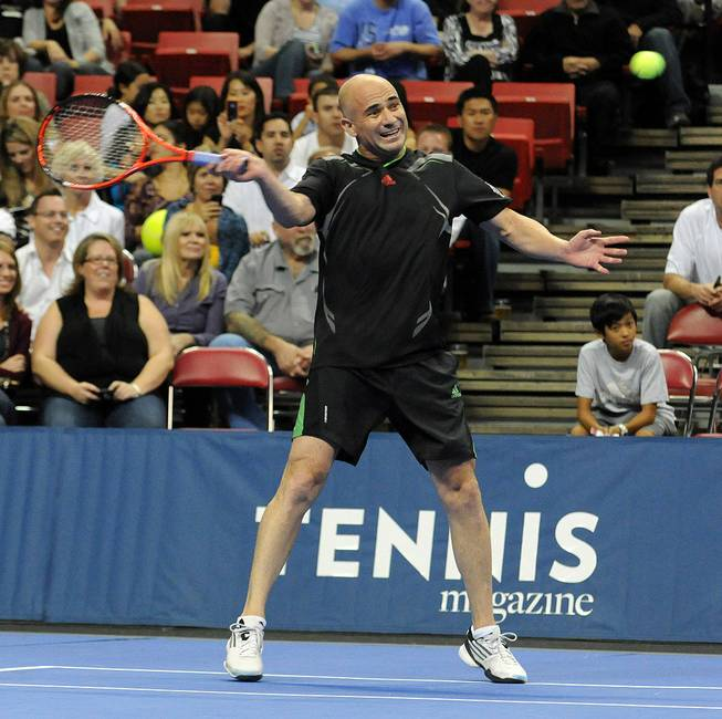 The Tennis Champions Series with Andre Agassi, Pete Sampras, Jim Courier and John McEnroe at the Thomas & Mack Center at UNLV on Oct. 15, 2011.