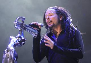 Jonathan Davis of Korn performs during the second day of the Rockstar 48 Hours Festival at the Luxor Festival Grounds on Sunday, Oct. 16, 2011.