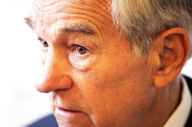 Republican candidate for president Ron Paul talks during an interview at the Venetian Tuesday, October 18, 2011.