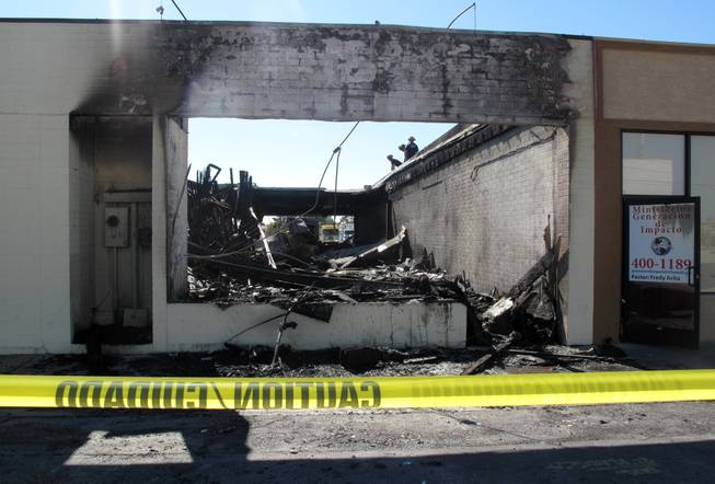 Clark County fire officials said a blaze Thursday morning at the Commercial Center District on Sahara Avenue caused more than $500,000 damage to four businesses. Most damage was contained to a closed business in the strip mall.