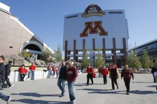 The exterior of TCF Bank Stadium before an NCAA college football game between Minnesota and the Nebraska, Saturday, Oct. 22, 2011, in Minneapolis.