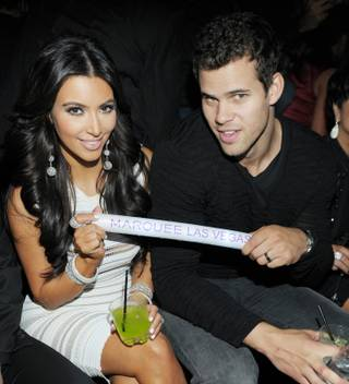 Kim Kardashian and Kris Humphries celebrate Kardashian's 31st birthday at Marquee Nightclub at the Cosmopolitan on Oct. 22, 2011.
