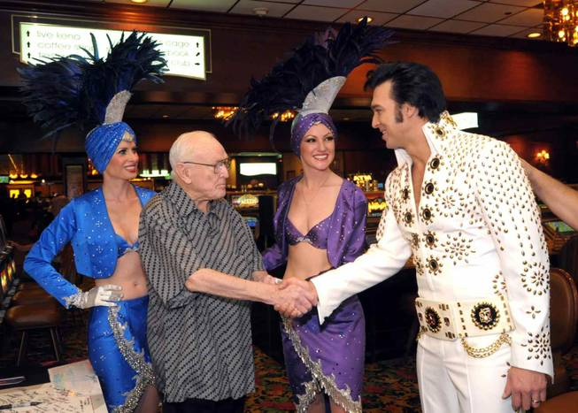 Jackie Gaughan celebrates his 89th birthday at the El Cortez with showgirls and an Elvis Presley impersonator on Oct. 26, 2009.