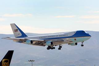 Air Force One comes in for a landing at McCarran International Airport Monday Oct. 24, 2011.