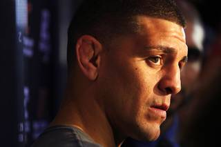 Nick Diaz talks to reporters during the open media workout in advance of UFC 137 Wednesday, October 25, 2011. Diaz will face B.J. Penn in a welterweight bout.