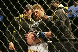 Roy Nelson rubs his belly after defeating Mirko